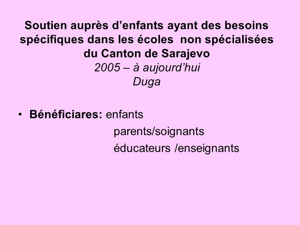 Soutien auprès denfants ayant des besoins spécifiques dans les écoles non spécialisées du Canton de Sarajevo 2005 – à aujourdhui Duga Bénéficiares: en