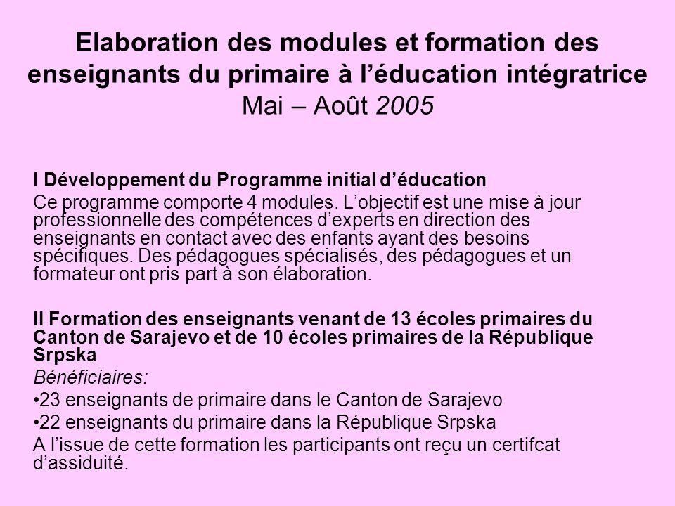 Elaboration des modules et formation des enseignants du primaire à léducation intégratrice Mai – Août 2005 I Développement du Programme initial déduca