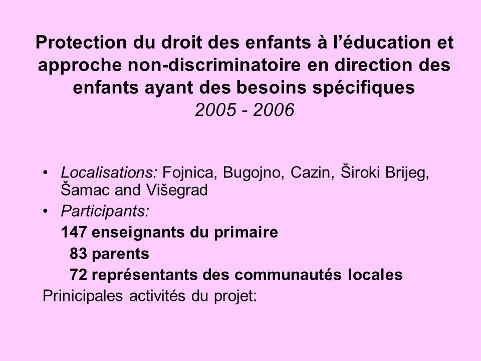 Protection du droit des enfants à léducation et approche non-discriminatoire en direction des enfants ayant des besoins spécifiques 2005 - 2006 Locali