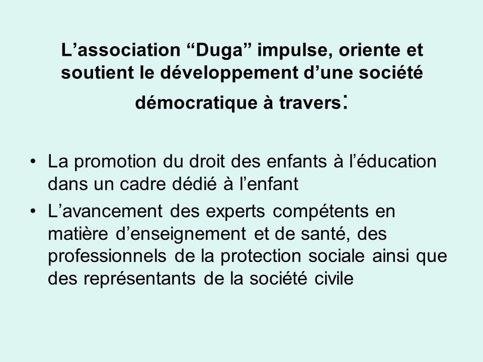 Lassociation Duga impulse, oriente et soutient le développement dune société démocratique à travers : La promotion du droit des enfants à léducation d