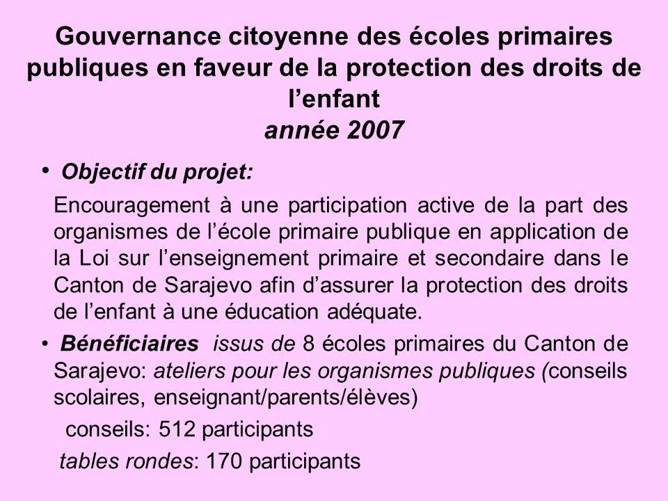 Gouvernance citoyenne des écoles primaires publiques en faveur de la protection des droits de lenfant année 2007 Objectif du projet: Encouragement à u