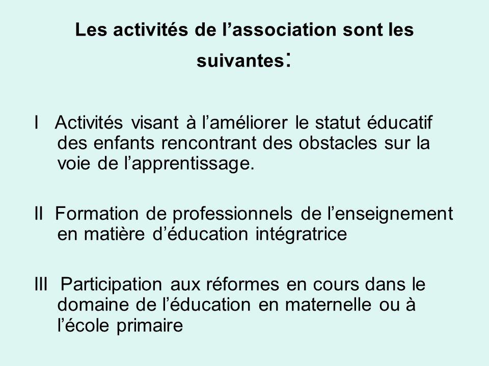 Les activités de lassociation sont les suivantes : I Activités visant à laméliorer le statut éducatif des enfants rencontrant des obstacles sur la voi