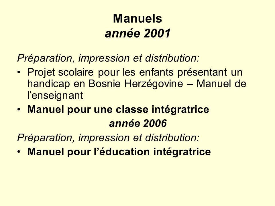 Manuels année 2001 Préparation, impression et distribution: Projet scolaire pour les enfants présentant un handicap en Bosnie Herzégovine – Manuel de