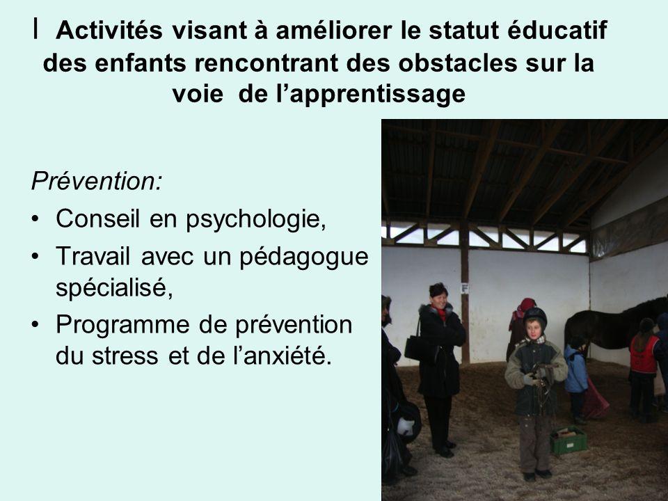 Prévention: Conseil en psychologie, Travail avec un pédagogue spécialisé, Programme de prévention du stress et de lanxiété. I Activités visant à améli