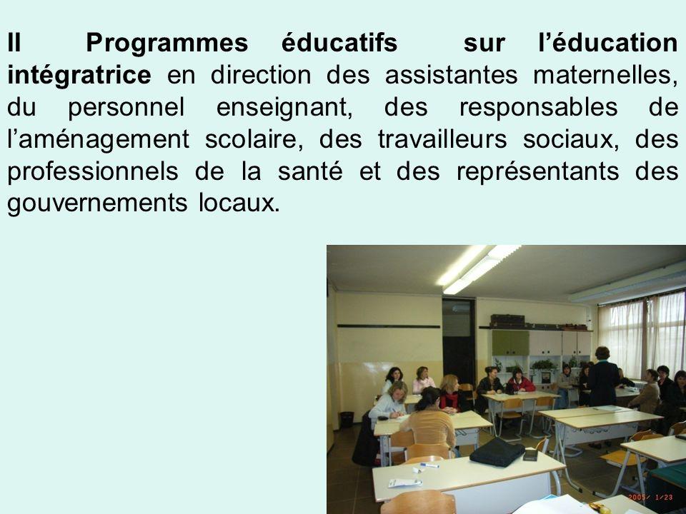 II Programmes éducatifs sur léducation intégratrice en direction des assistantes maternelles, du personnel enseignant, des responsables de laménagemen