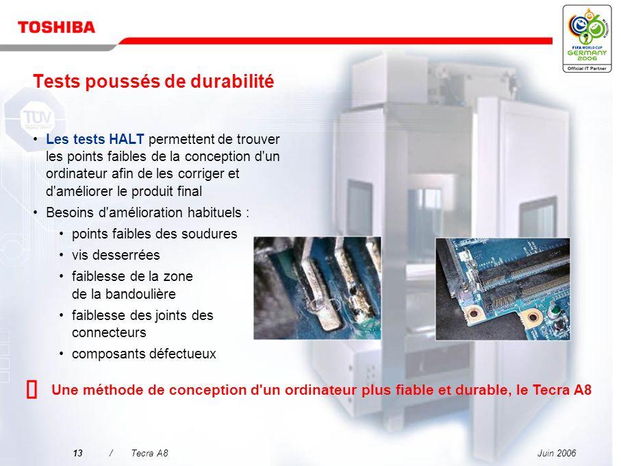 Juin 200612/Tecra A8 HALT combine des tests de contrainte de variations extrêmes de températures, de résistance aux chocs et de vibrations répétées po