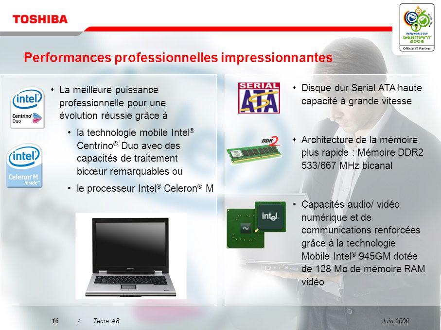 Juin 200615/Tecra A8 Pourquoi choisir le Tecra A8 ? Mettre l'accent sur la qualité pour une mobilité sans souci Performances professionnelles impressi