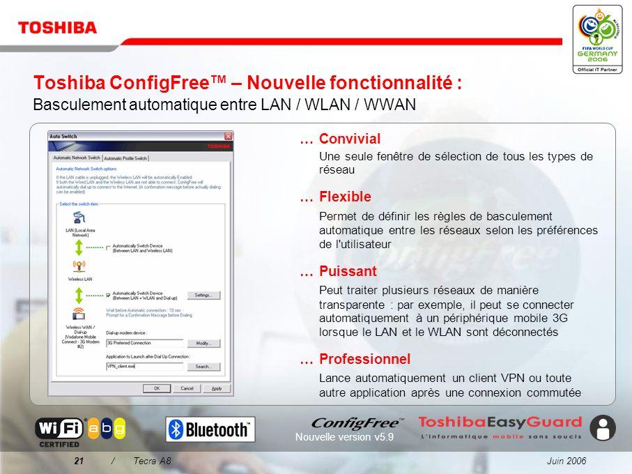 Juin 200620/Tecra A8 Toshiba ConfigFree Une connectivité simplifiée dans tous les environnements...Facilité de recherche des réseaux W-LAN à l'aide d'
