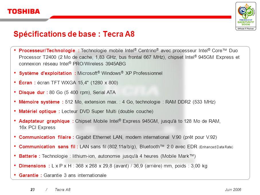 Juin 200622/Tecra A8 Toshiba Summit Fonction efficace de conférence sans fil incluant partage des fichiers et forum de discussion pour améliorer la pr