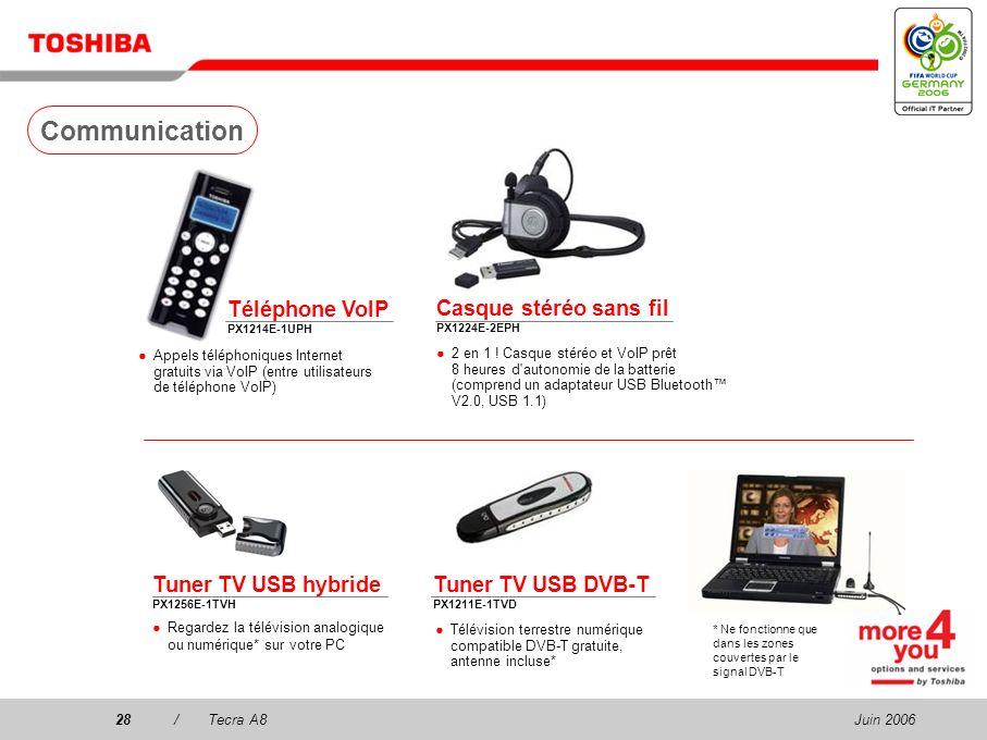 Juin 200627/Tecra A8 Mémoire 256/512 Mo/1 Go/2 Go PC2 DDR2 (667 MHz) PA3499U-1M25 (256 MB) PA3511U-1M51 (512 MB) PA3512U-1M1G (1 GB) PA3513U-1M2G (2 G