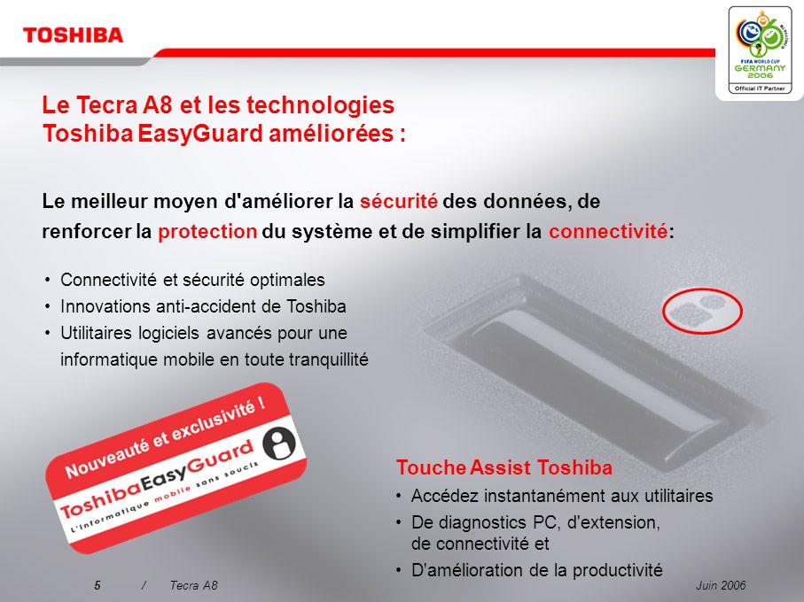 Juin 20064/Tecra A8 Pourquoi choisir le Tecra A8 ? 3 Mettre l'accent sur la qualité pour une mobilité sans souci 1 Un produit d'une qualité exceptionn