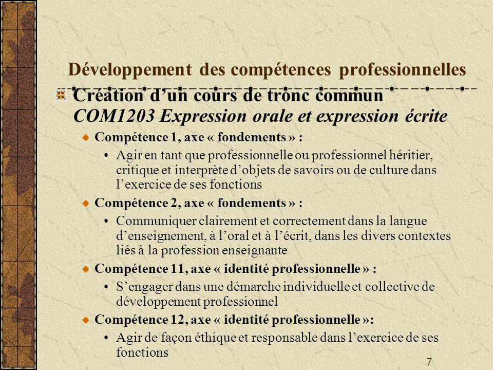 7 Développement des compétences professionnelles Création dun cours de tronc commun COM1203 Expression orale et expression écrite Compétence 1, axe «