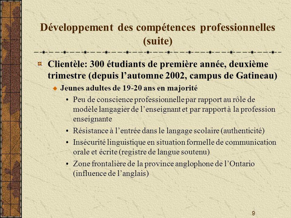9 Développement des compétences professionnelles (suite) Clientèle: 300 étudiants de première année, deuxième trimestre (depuis lautomne 2002, campus