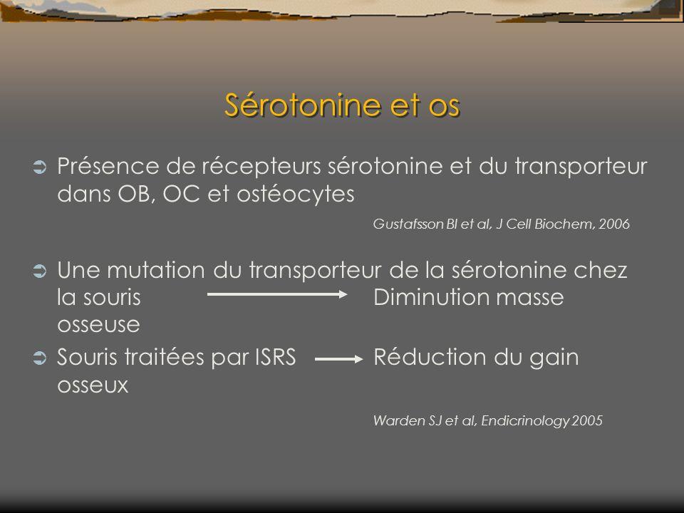 Sérotonine et os Présence de récepteurs sérotonine et du transporteur dans OB, OC et ostéocytes Gustafsson BI et al, J Cell Biochem, 2006 Une mutation