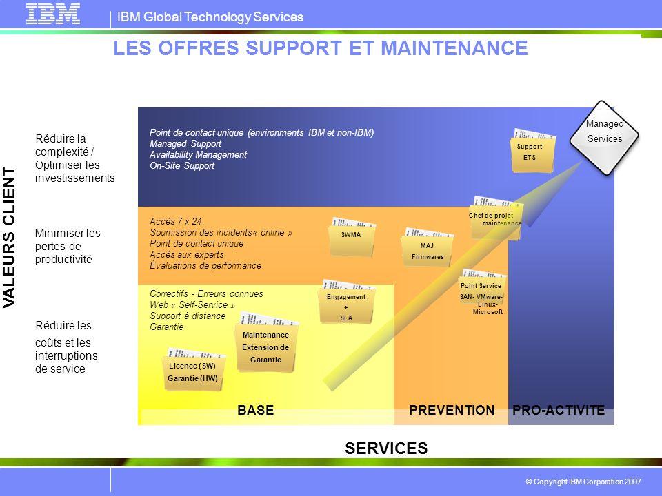 IBM Global Technology Services © Copyright IBM Corporation 2007 LES OFFRES SUPPORT ET MAINTENANCE SERVICES VALEURS CLIENT Réduire les coûts et les int