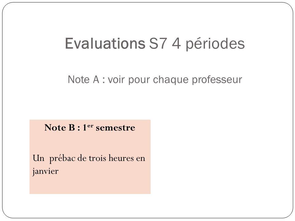 Evaluations S7 4 périodes Note A : voir pour chaque professeur Note B : 1 er semestre Un prébac de trois heures en janvier