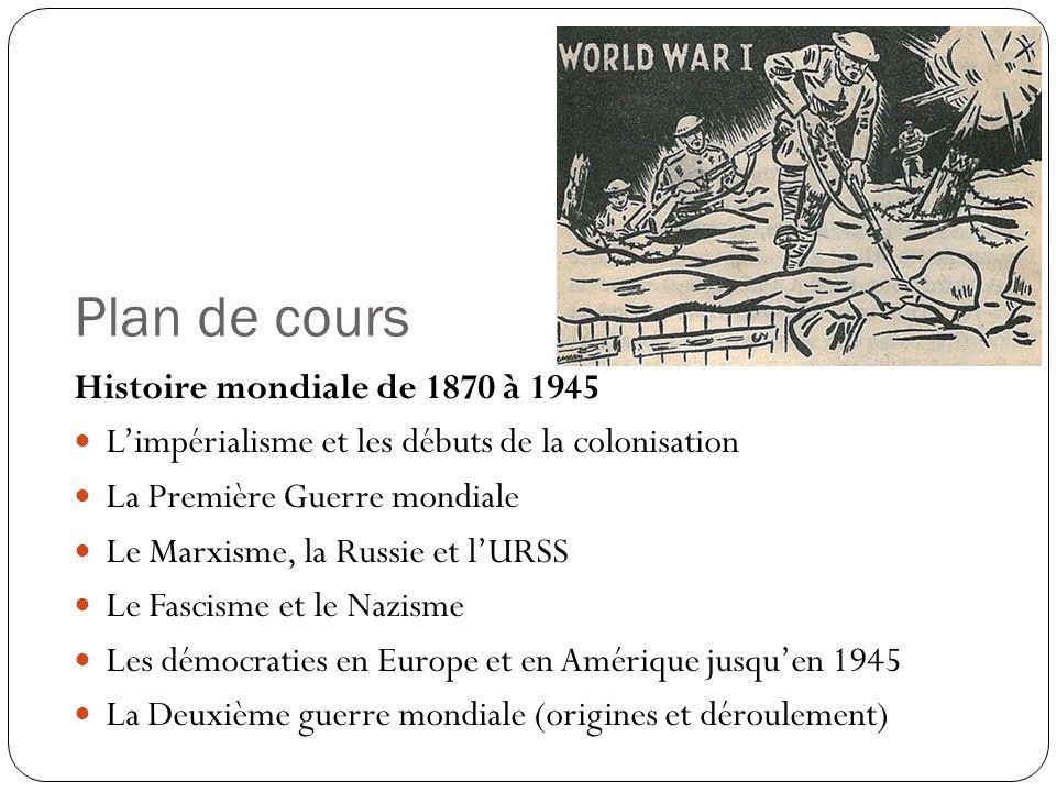 Plan de cours Histoire mondiale de 1870 à 1945 Limpérialisme et les débuts de la colonisation La Première Guerre mondiale Le Marxisme, la Russie et lU