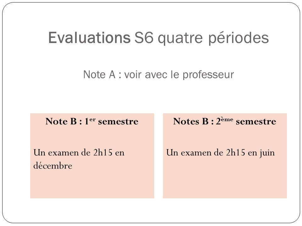 Evaluations S6 quatre périodes Note A : voir avec le professeur Note B : 1 er semestre Un examen de 2h15 en décembre Notes B : 2 ème semestre Un exame