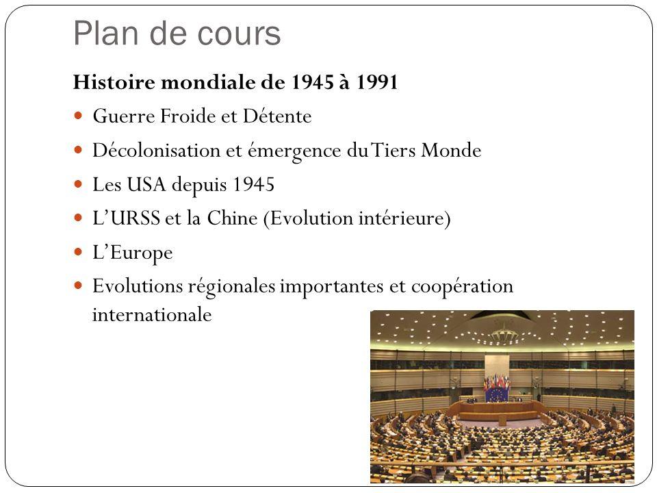Plan de cours Histoire mondiale de 1945 à 1991 Guerre Froide et Détente Décolonisation et émergence du Tiers Monde Les USA depuis 1945 LURSS et la Chi
