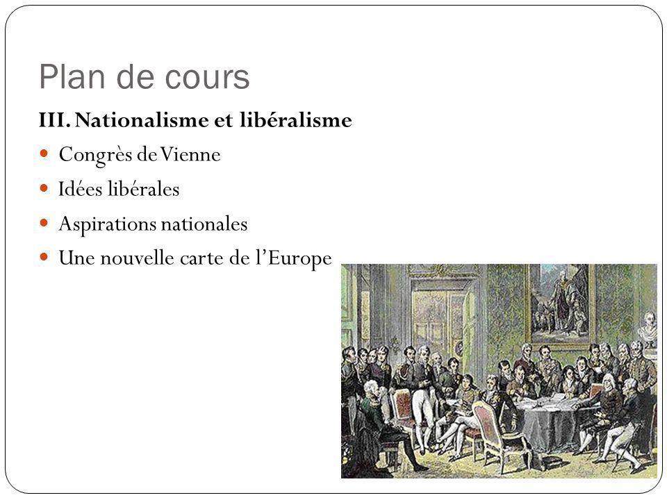 Plan de cours III. Nationalisme et libéralisme Congrès de Vienne Idées libérales Aspirations nationales Une nouvelle carte de lEurope