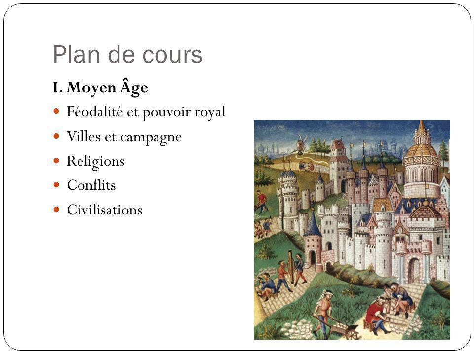 Plan de cours I. Moyen Âge Féodalité et pouvoir royal Villes et campagne Religions Conflits Civilisations