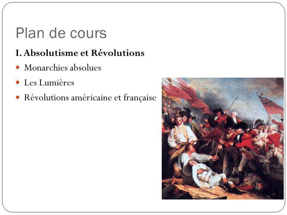Plan de cours I. Absolutisme et Révolutions Monarchies absolues Les Lumières Révolutions américaine et française