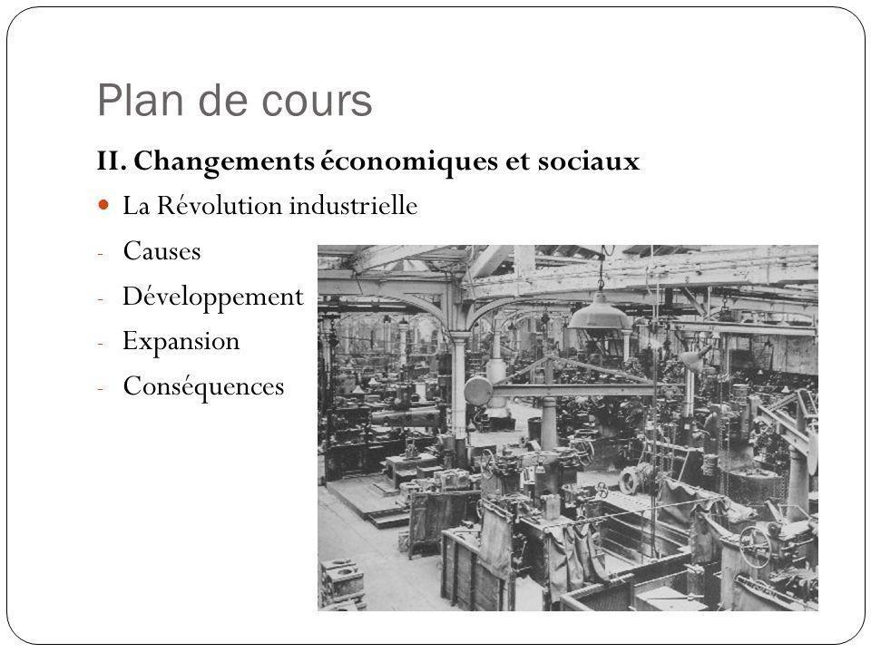 Plan de cours II. Changements économiques et sociaux La Révolution industrielle - Causes - Développement - Expansion - Conséquences