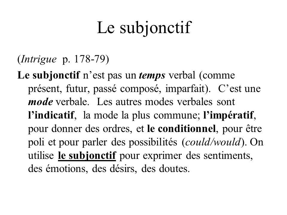Le subjonctif (Intrigue p. 178-79) Le subjonctif nest pas un temps verbal (comme présent, futur, passé composé, imparfait). Cest une mode verbale. Les