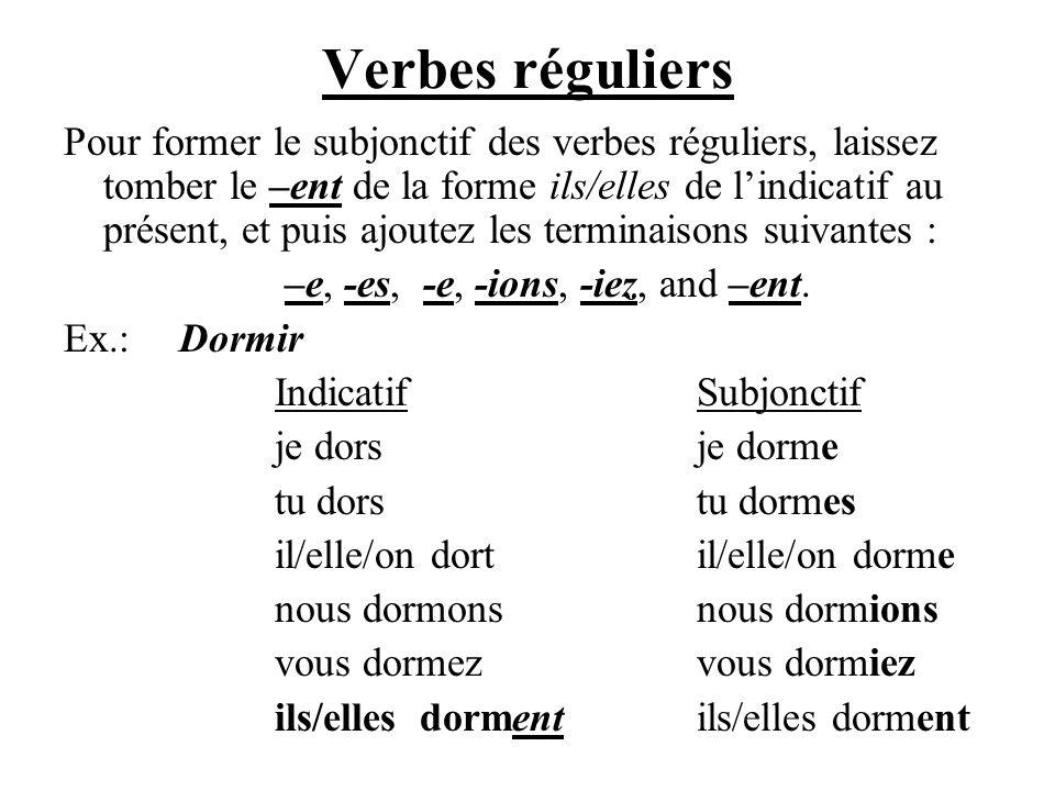 Verbes réguliers Pour former le subjonctif des verbes réguliers, laissez tomber le –ent de la forme ils/elles de lindicatif au présent, et puis ajoute