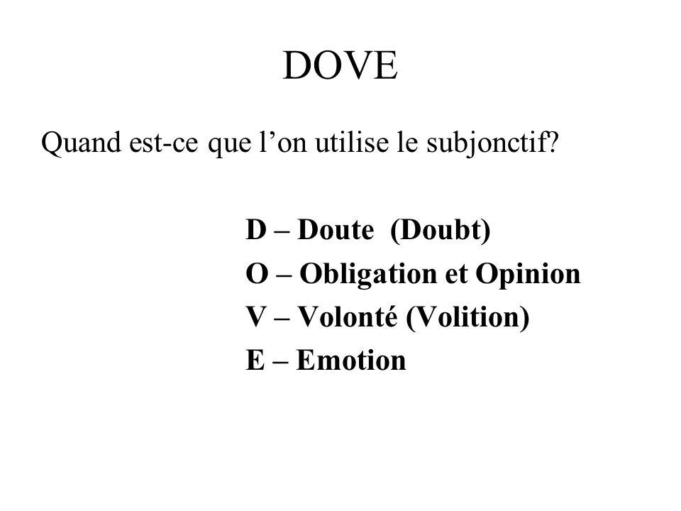 DOVE Quand est-ce que lon utilise le subjonctif? D – Doute (Doubt) O – Obligation et Opinion V – Volonté (Volition) E – Emotion