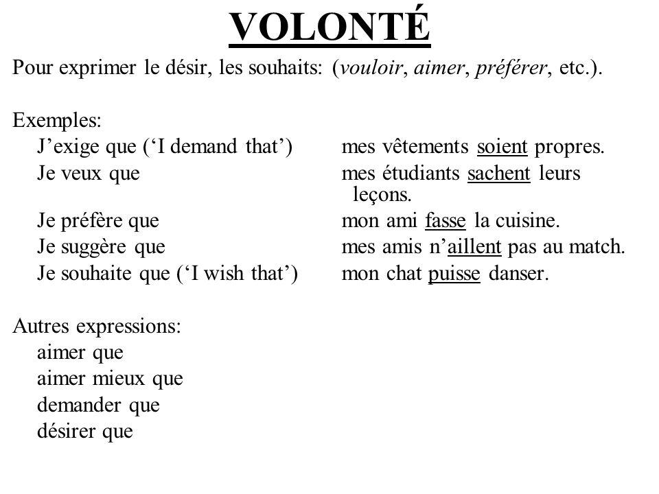 ÉMOTION Exemples: Je suis déçu(e) que mon ami ne puisse pas parler le français.