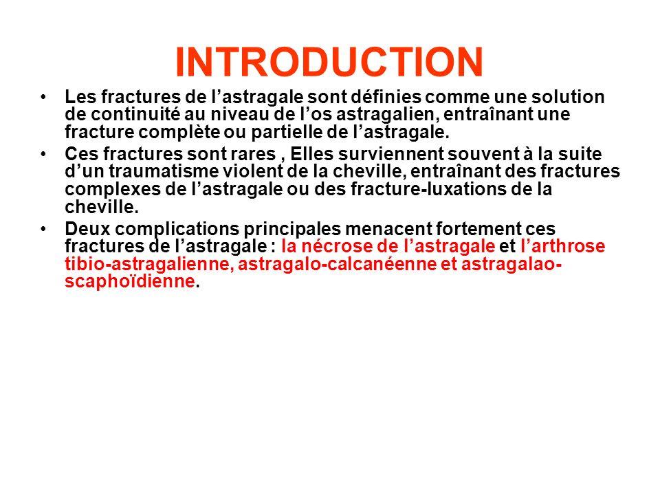 INTRODUCTION Les fractures de lastragale sont définies comme une solution de continuité au niveau de los astragalien, entraînant une fracture complète