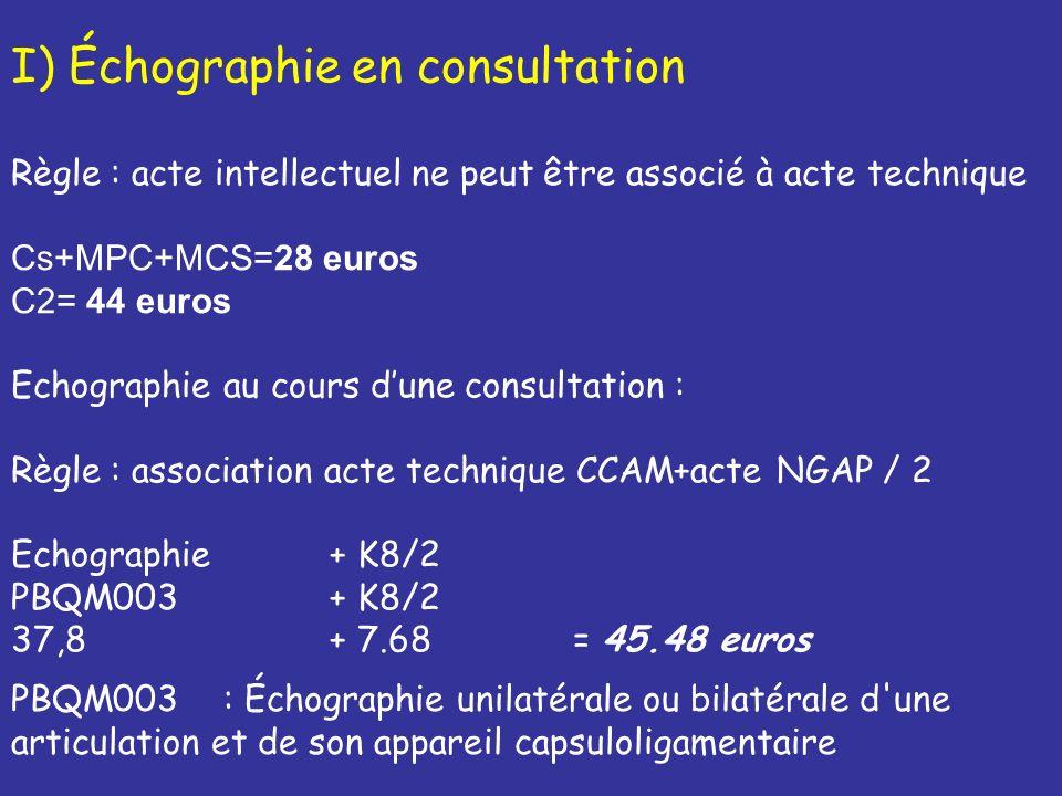 Si échographie diagnostique seule, possibilité de coder un autre acte CCAM ; La codification de lacte est alors divisée par 2 Exemple Echographie diagnostique dune articulation + Infiltration MI PBQM003 + NZLB001 /2 37,80 + 30.82 /2 = 53.21 euros