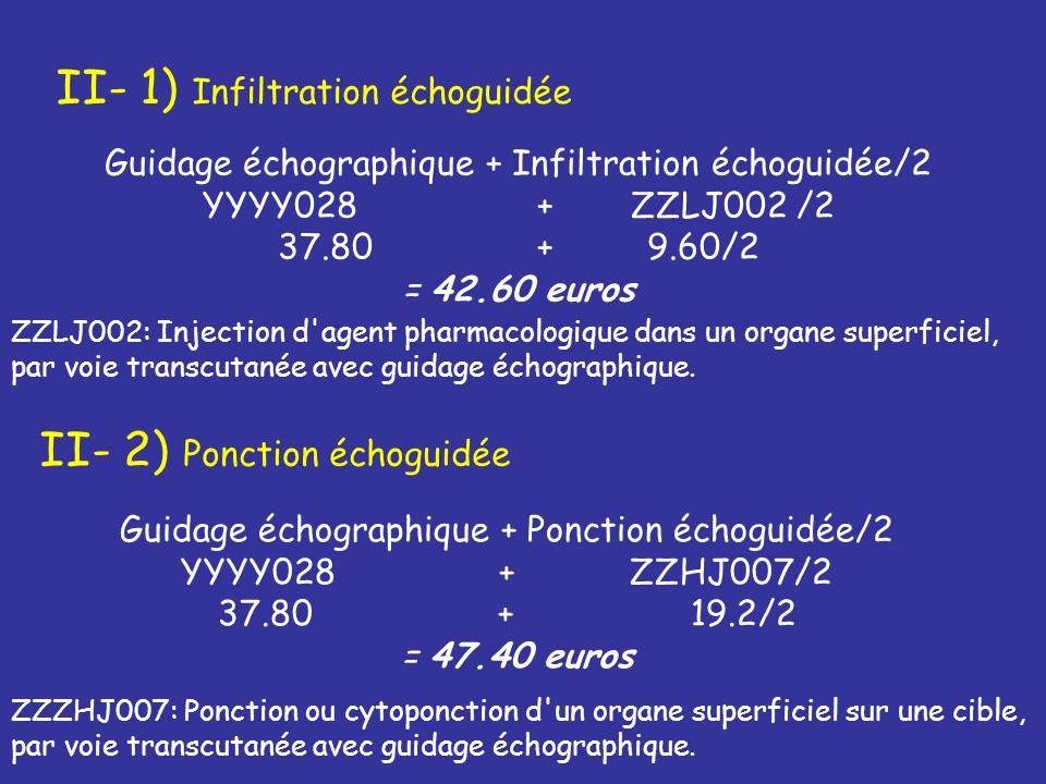 II- 1) Infiltration échoguidée Guidage échographique + Infiltration échoguidée/2 YYYY028 + ZZLJ002 /2 37.80 + 9.60/2 = 42.60 euros II- 2) Ponction éch