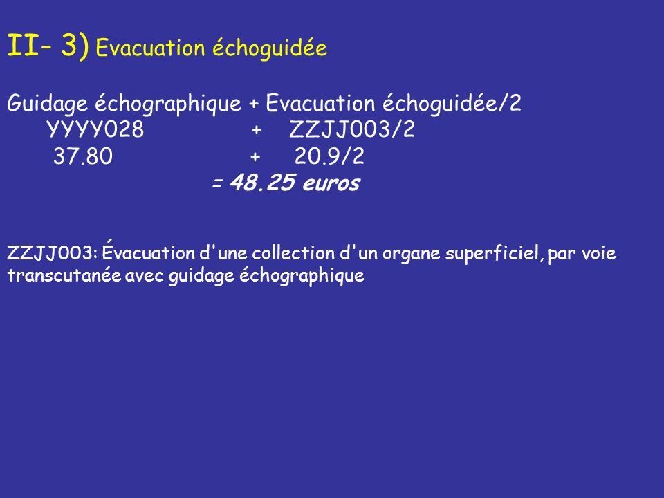 II/4) Drainage échoguidée Guidage échographique + Drainagéchoguidée/2 YYYY028 + ZZJJ007/2 37.80 + 19.2/2 = 47.74 euros ZZJJ007 : Drainage dune collection dun organe superficiel, par voie transcutanée avec guidage échographique