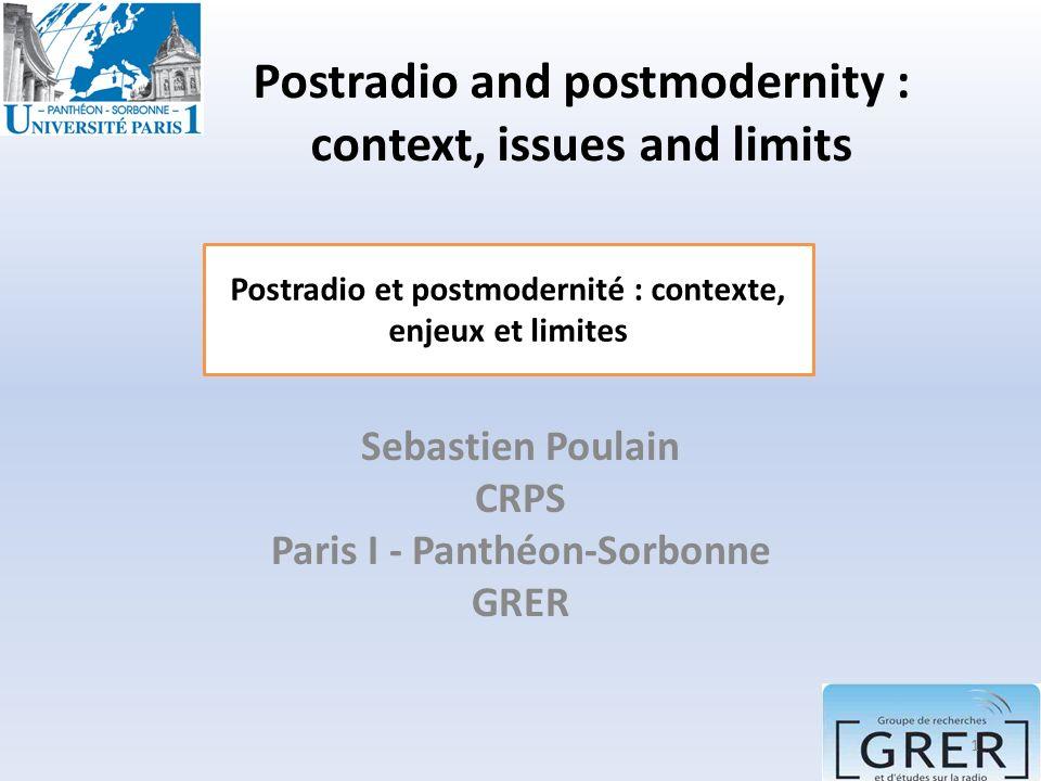 Postmodernity and postradiophony have many limitations.