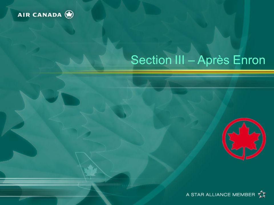 Section III – Après Enron