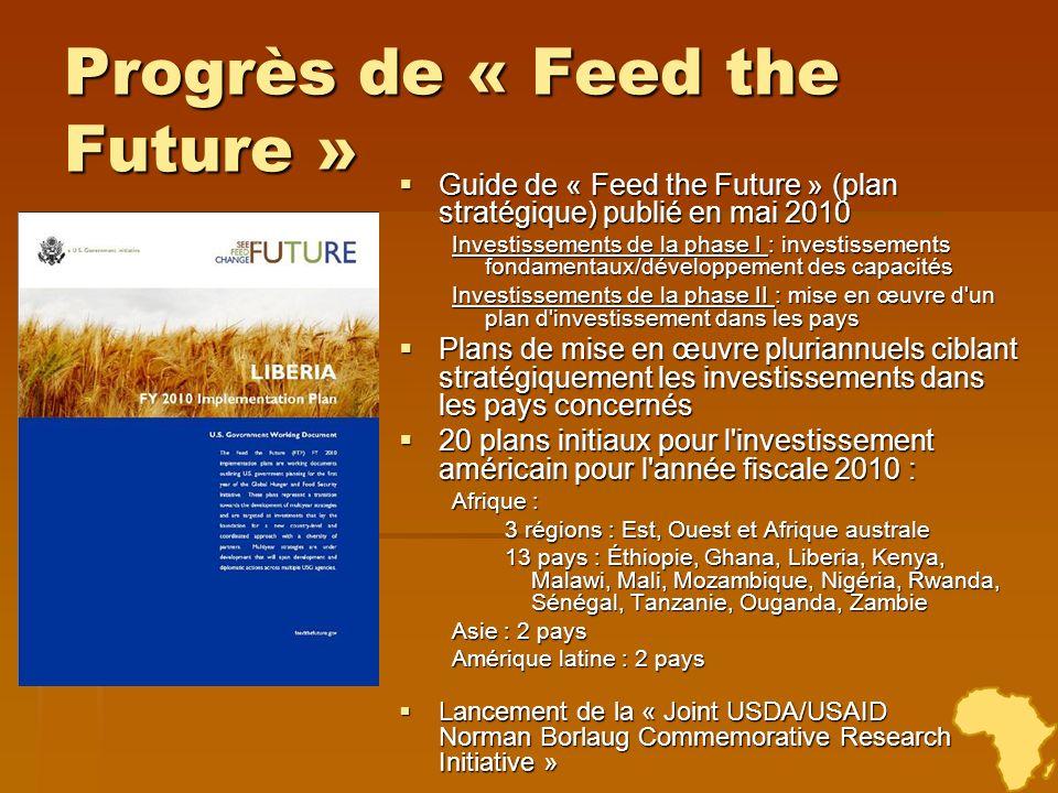 Progrès de « Feed the Future » Guide de « Feed the Future » (plan stratégique) publié en mai 2010 Guide de « Feed the Future » (plan stratégique) publ