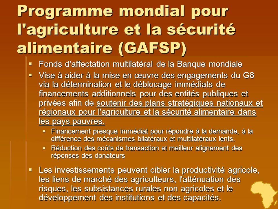 Programme mondial pour l'agriculture et la sécurité alimentaire (GAFSP) Fonds d'affectation multilatéral de la Banque mondiale Fonds d'affectation mul