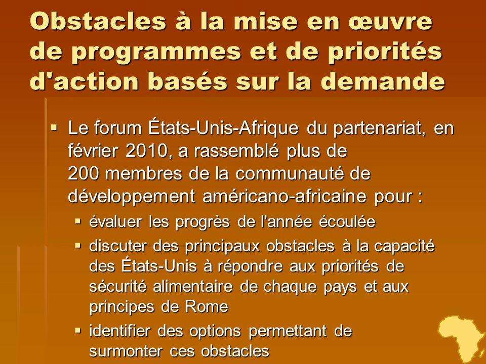 Obstacles à la mise en œuvre de programmes et de priorités d'action basés sur la demande Le forum États-Unis-Afrique du partenariat, en février 2010,