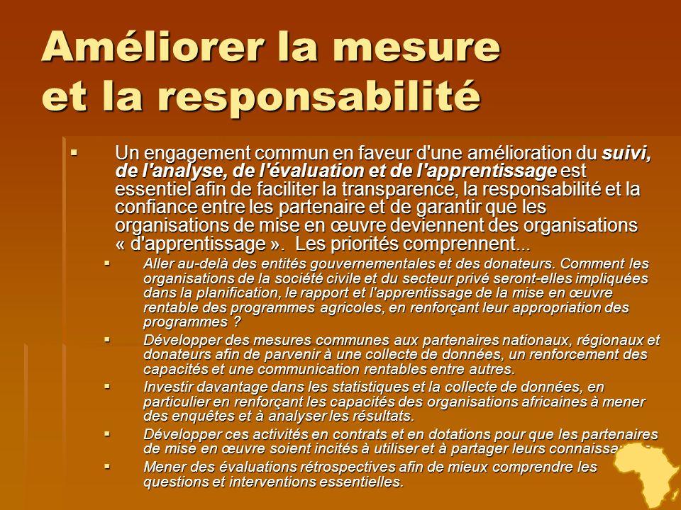 Améliorer la mesure et la responsabilité Un engagement commun en faveur d'une amélioration du suivi, de l'analyse, de l'évaluation et de l'apprentissa