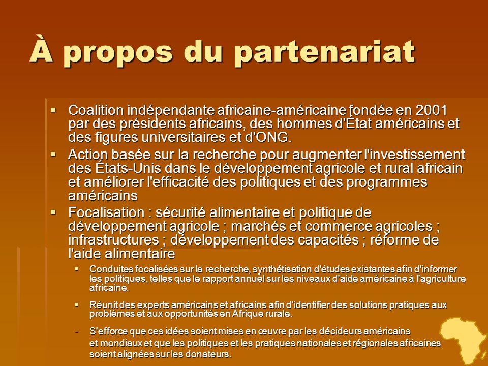 Obstacles à la mise en œuvre de programmes et de priorités d action basés sur la demande Le forum États-Unis-Afrique du partenariat, en février 2010, a rassemblé plus de 200 membres de la communauté de développement américano-africaine pour : Le forum États-Unis-Afrique du partenariat, en février 2010, a rassemblé plus de 200 membres de la communauté de développement américano-africaine pour : évaluer les progrès de l année écoulée évaluer les progrès de l année écoulée discuter des principaux obstacles à la capacité des États-Unis à répondre aux priorités de sécurité alimentaire de chaque pays et aux principes de Rome discuter des principaux obstacles à la capacité des États-Unis à répondre aux priorités de sécurité alimentaire de chaque pays et aux principes de Rome identifier des options permettant de surmonter ces obstacles identifier des options permettant de surmonter ces obstacles
