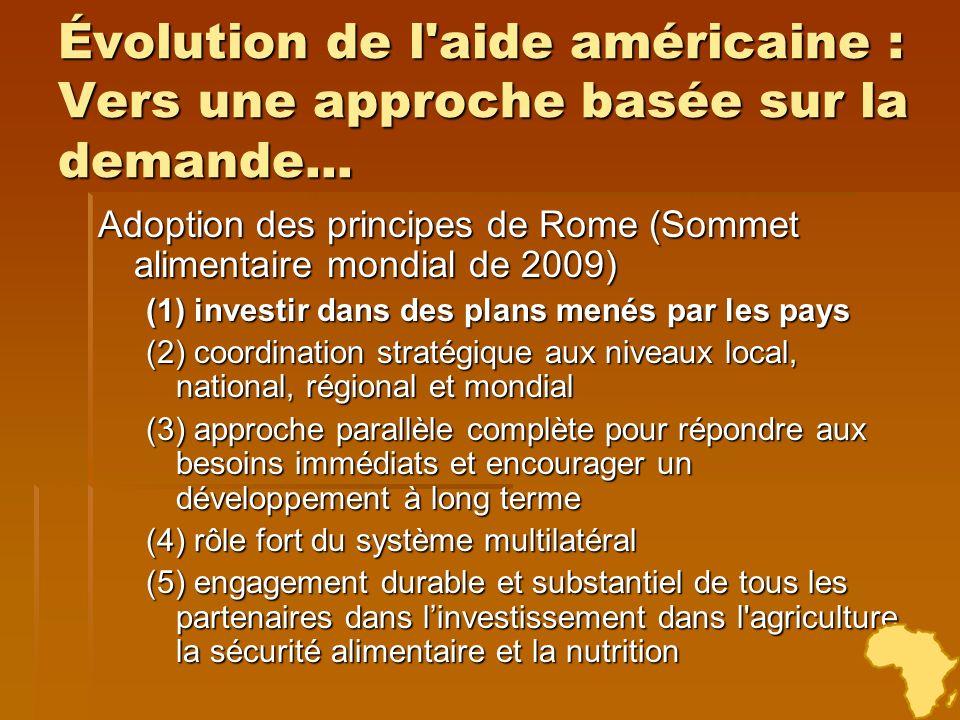 Évolution de l'aide américaine : Vers une approche basée sur la demande... Adoption des principes de Rome (Sommet alimentaire mondial de 2009) (1) inv
