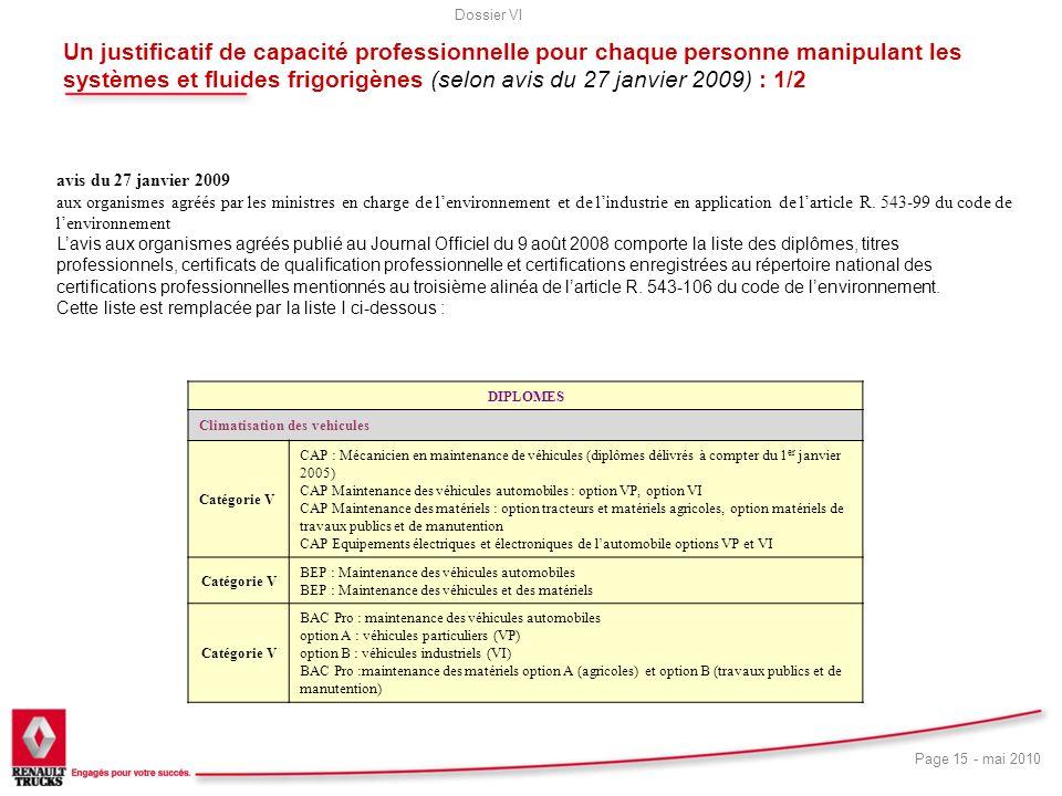 Dossier VI Page 15 - mai 2010 Un justificatif de capacité professionnelle pour chaque personne manipulant les systèmes et fluides frigorigènes (selon