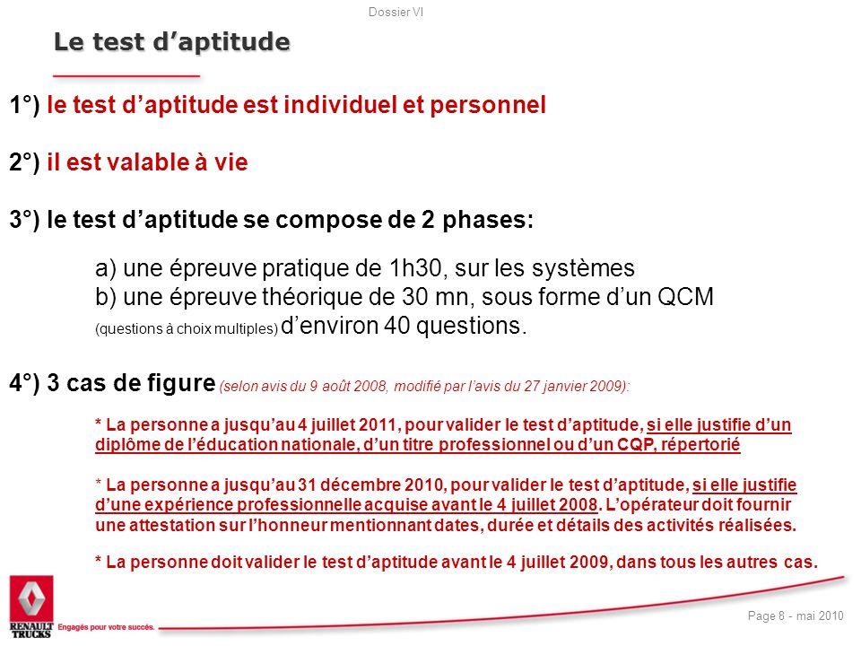 Dossier VI Page 8 - mai 2010 19 Le test daptitude 1°) le test daptitude est individuel et personnel 2°) il est valable à vie 3°) le test daptitude se