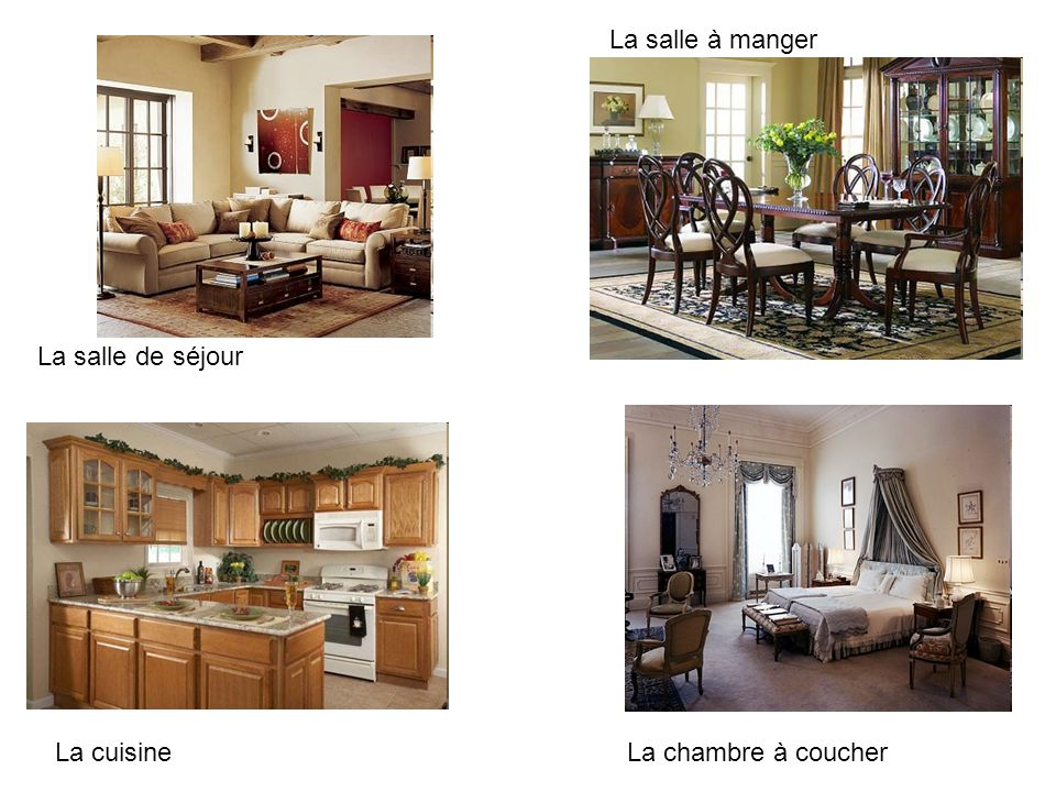 La salle de séjour La salle à manger La cuisineLa chambre à coucher