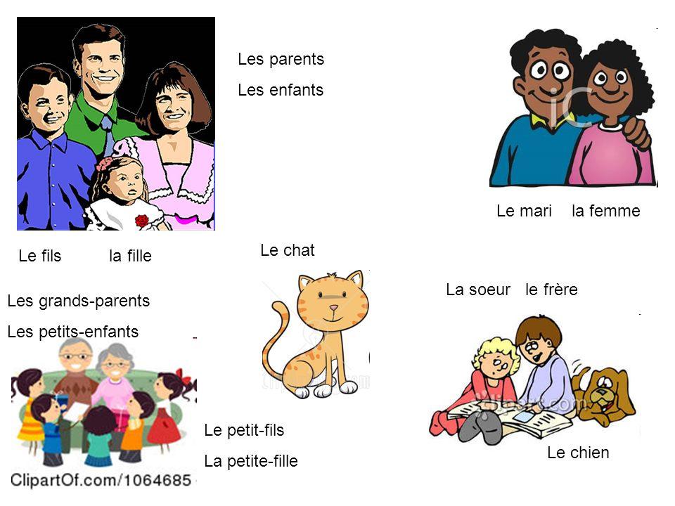 Les parents Les enfants Le fils la fille Le mari la femme Les grands-parents Les petits-enfants Le petit-fils La petite-fille La soeur le frère Le chi
