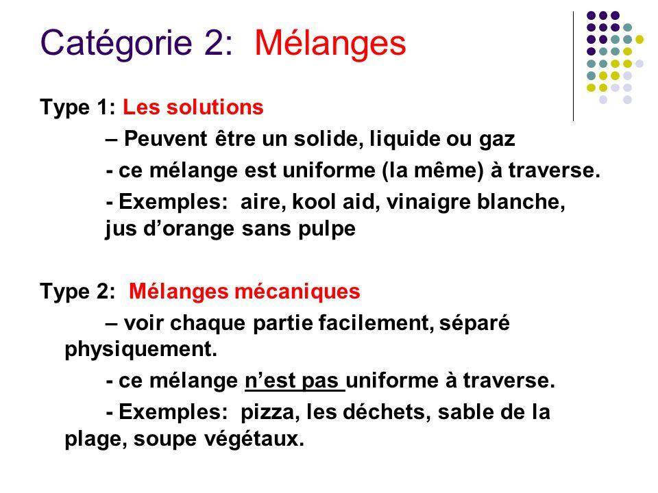 Catégorie 2: Mélanges Type 1: Les solutions – Peuvent être un solide, liquide ou gaz - ce mélange est uniforme (la même) à traverse. - Exemples: aire,