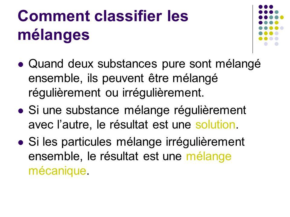 Comment classifier les mélanges Quand deux substances pure sont mélangé ensemble, ils peuvent être mélangé régulièrement ou irrégulièrement. Si une su