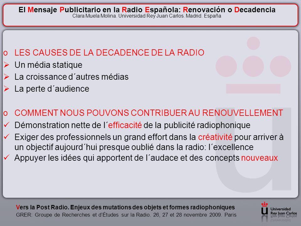 Le message Publicitaire par la Radio en Espagne: Renouvellement ou Décadence Clara Muela Molina Universidad Rey Juan Carlos Facultad de Ciencias de la Comunicación Madrid.